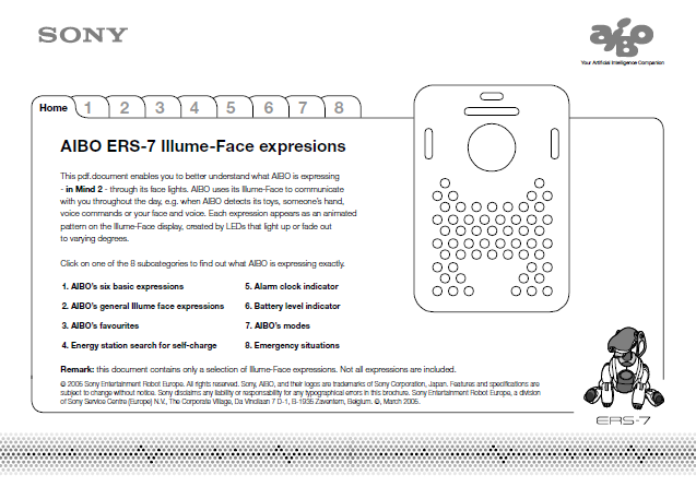 ERS-7 LED Face Expressions